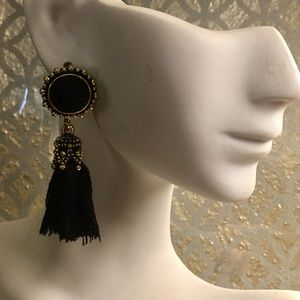 FRINGE is IN!!! Black fringe w/ Gold detail dangle